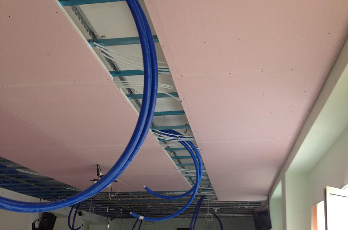 Soffitto e parete radiante Uponor a Salerno per edifici pubblici